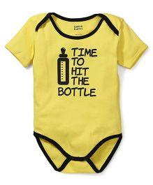 Tantra Half Sleeves Onesie Hit the Bottle Print - Yellow