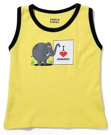 Tantra Sleeveless T-Shirt I Love Attention Print - Yellow