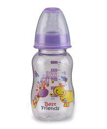 Mee Mee Plastic Premium Feeding Bottle Best Friends Print Purple - 150 ml
