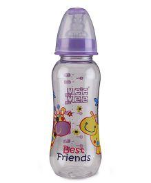 Mee Mee Plastic Premium Feeding Bottle Best Friends Print Purple - 250 ml
