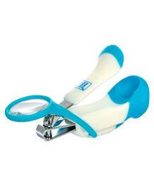 Mee Mee Gentle Nail Clipper With Magnifier - White & Blue