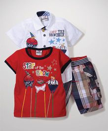 Formula 1 Shirt t-Shirt And Shorts Combo Set - White And Red