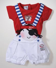 N-XT Dungaree With T-Shirt Pirate Print - Red And White