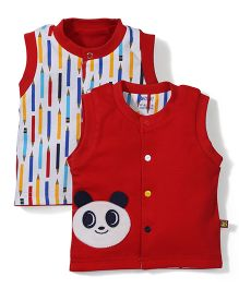 Wow Set Of Two Front Open  Reversible T-Shirts & Shorts Set - Red & Blue