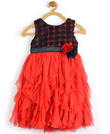 Toy Balloon Sleeveless Water Fall Dress Floral Applique - Red And Black