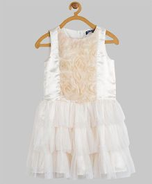 Toy Balloon Sleeveless Flowers With Mesh Frills Party Dress - Cream