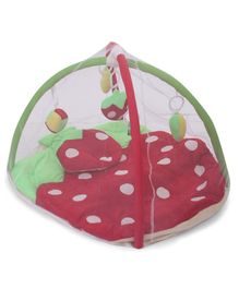 Babyhug Play Gym With Strawberry Cut & Mosquito Net - Red