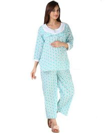 Morph Dotted Pyjama Set - Blue And White