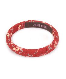 De Berry Flower Print Wrist Band - Maroon