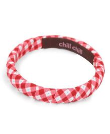 De Berry Checks Print Wrist Band - Red & Pink