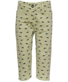 Tales & Stories Bird Print Pattern Capri - Light Green