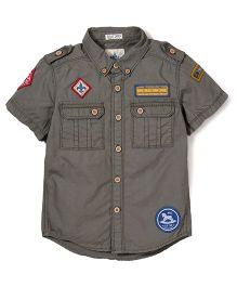 Police Zebra Juniors Blue Camp Print Shirt - Dark Grey
