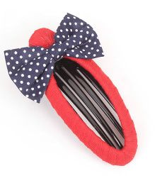 De Berry Dot Print Bow Hair Clip - Red