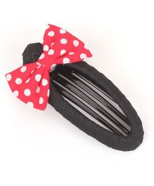 Clip Case Snap Clip With Bow - Black & Red