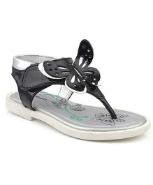 Kittens Shoes Sandals Butterfly Applique - Black