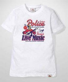 Police Zebra Juniors Live Music Print T-Shirt - White