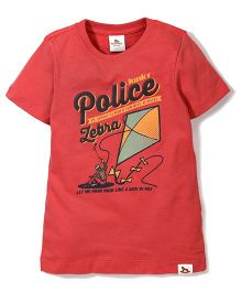 Police Zebra Junior Printed T-Shirt - Red