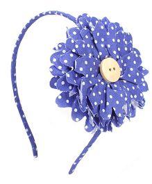 De Berry Dot Print Flower Hair Band - Blue