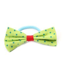 Clip Case Printed Bow Rubber Band - Green