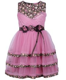 Cutecumber Floral Dress Embellished With Rhinestones & Flowers - Lilac