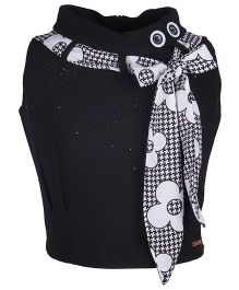 Cutecumber Party Wear Top With Rhinestone Embellishments & Tie - Up Bow - Black