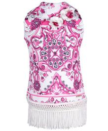 Cutecumber Floral Top Embellished With Rhinestone - Plum