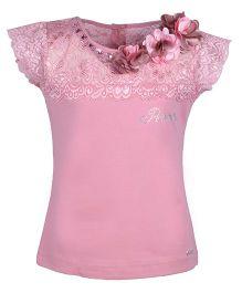 Cutecumber Short Sleeves Top Embellished With Rhinestone & Flowers - Light Plum