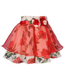 Cutecumber Skirt Embellished With Flowers - Red