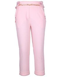 Cutecumber Party Wear Capri With Chain & Embellishments - Pink