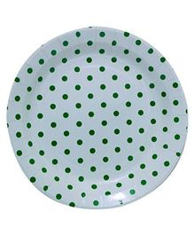 Partymanao Paper Plates Polka Dot Print Green And White - Pack Of 10