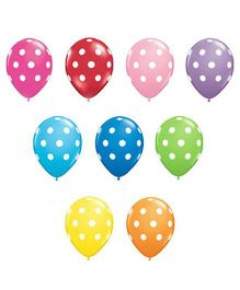 Partymanao Polka Dotted Balloons Assorted Multicolor - Pack Of 100