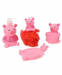 Bathroom Set Teddy Design Pack Of 4 - Pink And Red