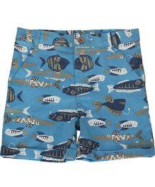 Nino Bambino Organic Cotton Shorts Fish Print - Blue