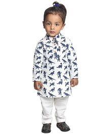 Nino Bambino Full Sleeves Organic Cotton Kurta Pajama Set - Off White