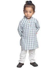 Nino Bambino Full Sleeves Organic Cotton Check Kurta Pajama Set - Off White And Navy Blue