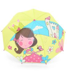 Babyhug Printed Umbrella Pale Green And Pink - 18 Inches