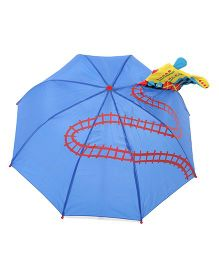 Babyhug Track Print Umbrella Blue - 18 Inches