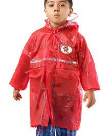Babyhug Full Sleeves Raincoat Diva Patch - Red