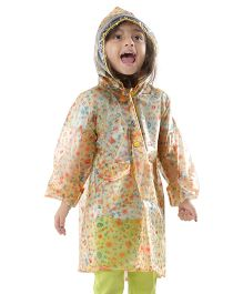 Babyhug Full Sleeves Raincoat Multi Print - Yellow