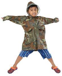 Babyhug Full Sleeves Raincoat Camouflage Print - Green