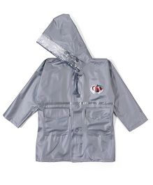 Babyhug Full Sleeves Hooded Raincoat - Silver