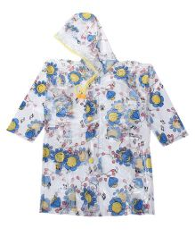 Babyhug Full Sleeves Raincoat Flowers Print - White