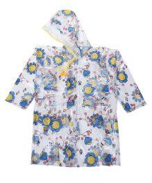 Babyhug Full Sleeves Raincoat Flowers Print - White