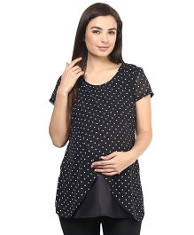 Mine4Nine Georgette Layered Maternity Top Polka Dots Print - Black