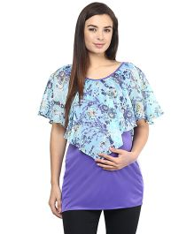 Mine4Nine Lycra Layered Maternity Top Floral Print - Purple