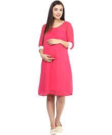 Mine4Nine Georgette Maternity Dress - Pink