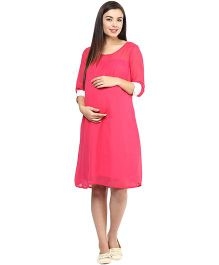 Mine4Nine Georgette Maternity Dress - Pink
