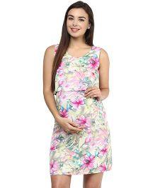 Mine4Nine Crepe Two Piece Maternity Dress Floral Print - Pink