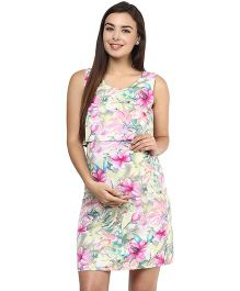 Mine4Nine Crepe Two Piece Maternity Dress Floral Print - Pink