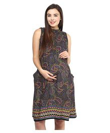 Mine4Nine Sleeveless Rayon Maternity Dress Tribal Print - Multi Color